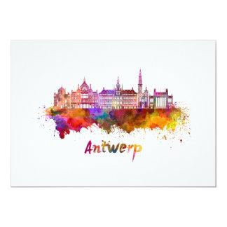 Antwerp skyline in watercolor card