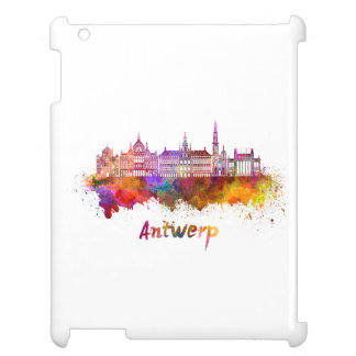 Antwerp skyline in watercolor case for the iPad