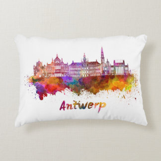 Antwerp skyline in watercolor decorative cushion