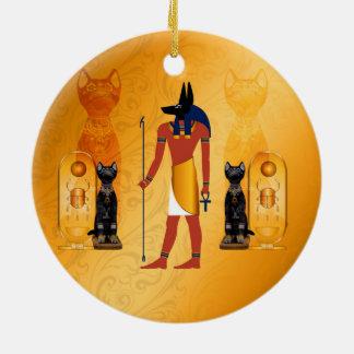 Anubis, ancient Egyptian god Round Ceramic Decoration