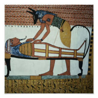 Anubis and a Mummy, from the Tomb of Sennedjem Poster
