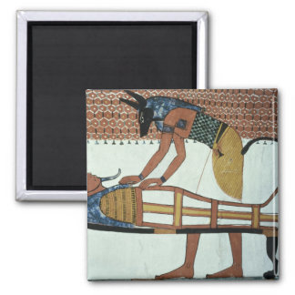 Anubis and a Mummy, from the Tomb of Sennedjem Square Magnet