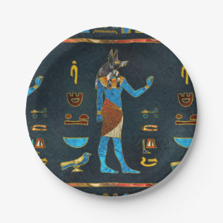 Anubis Egyptian  Gold, Blue and Red glass Paper Plate