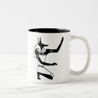 Anubis, Egyptian hieroglyph Two-Tone Coffee Mug