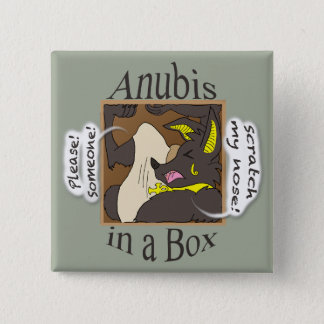 Anubis In A Box (Closed Eyes) 15 Cm Square Badge
