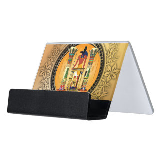 Anubis on golden background desk business card holder
