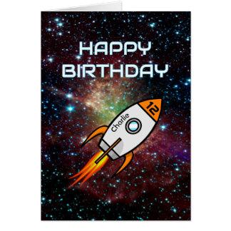 Any age birthday custom name orange rocket card