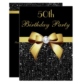 Any Age Birthday Faux Sequins Bow Black Gold Card