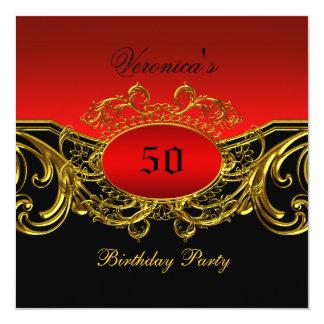 Any Age Birthday Party Elegant Red Black Gold 13 Cm X 13 Cm Square Invitation Card