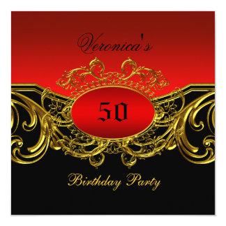 Any Age Birthday Party Elegant Red Black Gold Card