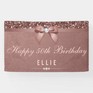 Any Age Birthday Rose Gold Diamond Bow Glitter Banner