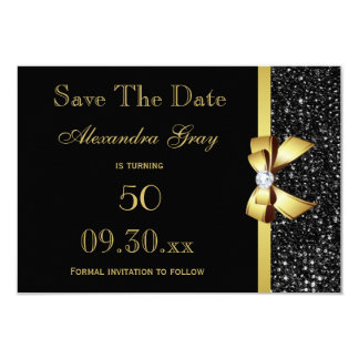 Any Age Birthday Save The Date Black and Gold 9 Cm X 13 Cm Invitation Card