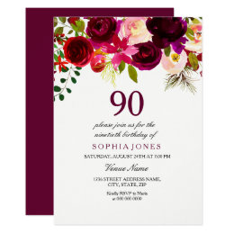 85th birthday invitations announcements zazzle any age burgundy floral 90th birthday party invite filmwisefo Choice Image