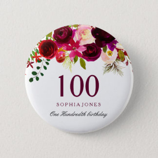 Any Age Burgundy Floral Boho 100th Birthday Party 6 Cm Round Badge