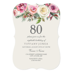 Any Age Elegant White Rose Floral 80th Birthday Invitation
