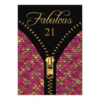 Any Age Fabulous Sequins Pink Gold Black Birthday 13 Cm X 18 Cm Invitation Card