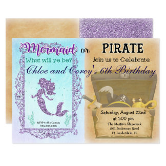 ANY AGE - Mermaid or Pirate Birthday Invitation