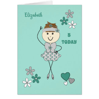 Any age mint and grey cute Ballerina Card