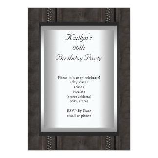 Any Age Party Birthday Black Suede Animal Skin 13 Cm X 18 Cm Invitation Card
