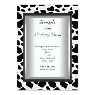 Any Age Party Birthday Black White Cow Animal Skin 13 Cm X 18 Cm Invitation Card