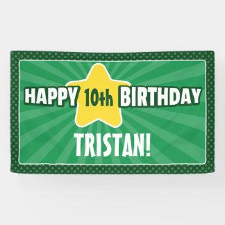 Any Age Star Green Birthday Banner