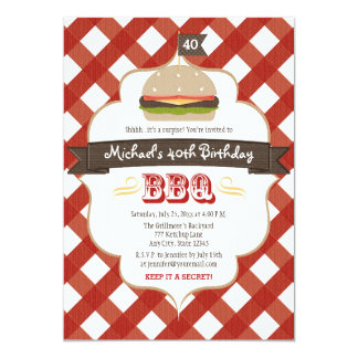 ANY AGE SURPRISE BBQ BIRTHDAY PARTY CARD