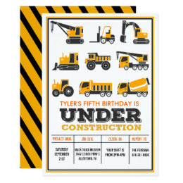 Construction Birthday Invitations Announcements Zazzlecomau