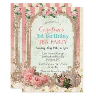 Vintage Floral Birthday Invitations