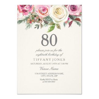Any Age White Rose Floral 80th Birthday Invite