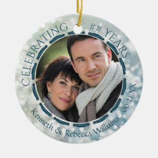 Any Anniversary, 2-Sided 2-Photo Teal/Blue/White Ceramic Ornament