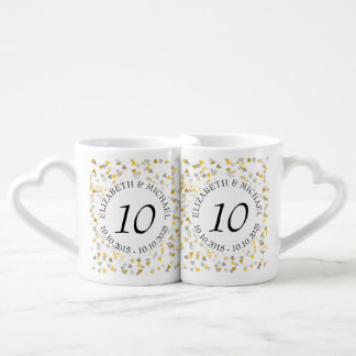 Any Anniversary Gold and Silver Confetti Coffee Mug Set