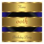 Any birthday Party Gold Black 3 Personalized Invitation