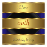 Any birthday Party Gold Black 3 Personalized Invitation