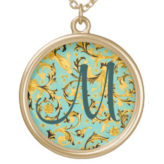 Any Color Background - Gold Florentine Round Pendant Necklace