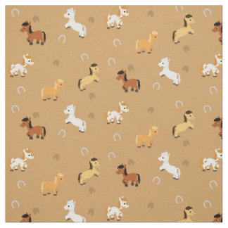 Any Color Background Horses and Ponies Pattern Fabric