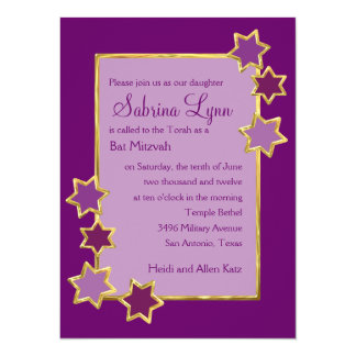 "Any Color Background Star Border Bat Mitzvah 5.5"" X 7.5"" Invitation Card"