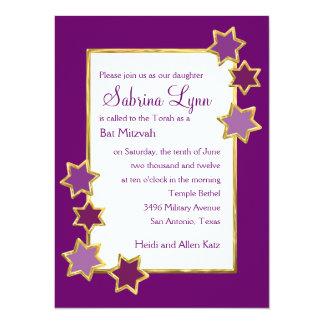 Any Color Background Star Border Bat Mitzvah 14 Cm X 19 Cm Invitation Card