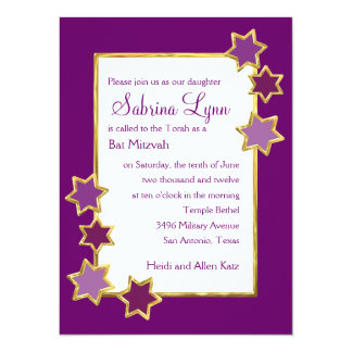 Any Color Background Star Border Bat Mitzvah Custom Announcements
