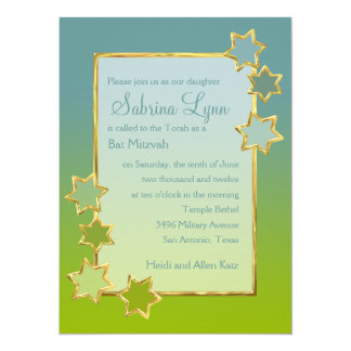 Any Color Background Star Border Bat Mitzvah Invitation