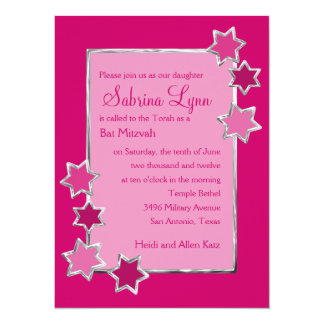 Any Color Background Star Border Bat Mitzvah Announcement