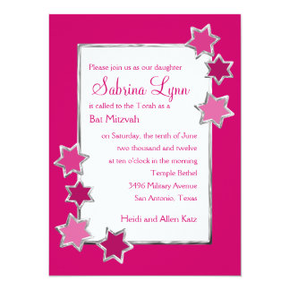 Any Color Background Star Border Bat Mitzvah Custom Invitation