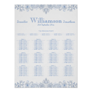 Any Color Flowers - Foliage Wedding Seating Chart Poster