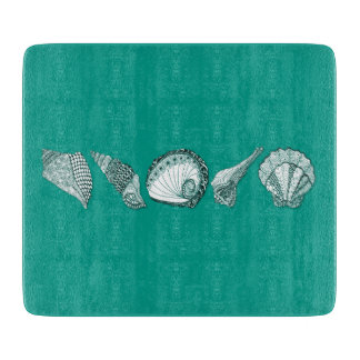 Any Color Hand Drawn Sea Shells Cutting Board