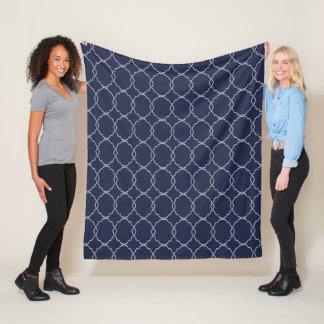 Any Color Moroccan Pattern Fleece Blanket - Navy