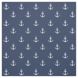 Any Color | Navy and White Nautical Anchor Print Fabric
