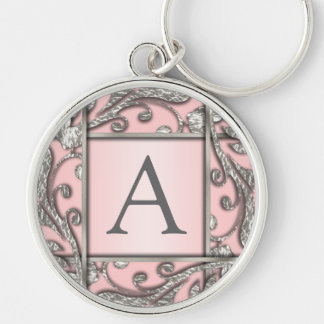 Any Color Silver Lattice Monogram Key Ring