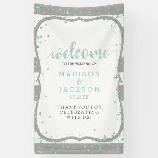 Any Color Stripes & Mint Confetti Wedding Welcome Banner