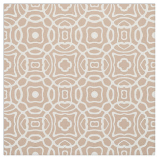 Any Color | Toasted Almond Quatrefoil Block Print Fabric