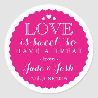 ANY COLOR Wedding Favor Sweet Jar Round Round Sticker