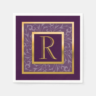 "Any Color with ""Gold"" Border and Monogram Disposable Serviettes"